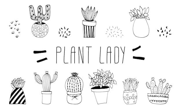 Joli ensemble dessiné à la main de pots de cactus doodle vector illustration plantes d'intérieur