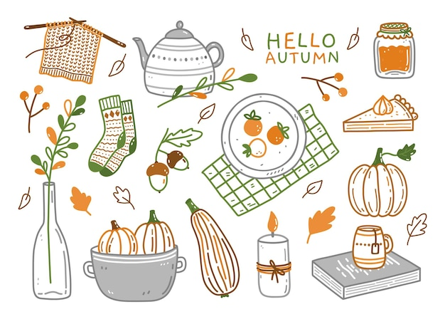 Joli ensemble d'éléments d'automne dans un style doodle