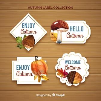 Joli ensemble d'étiquettes d'automne aquarelle
