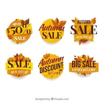 Joli ensemble d'étiquettes de vente automne avec design plat