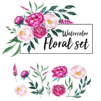 Joli ensemble floral aquarelle
