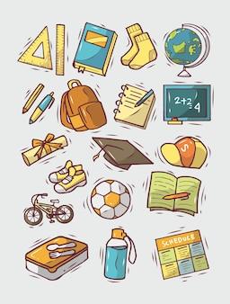 Joli ensemble de fournitures scolaires doodle dessinés à la main