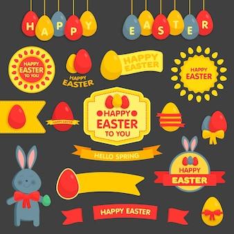 Joli ensemble de pâques d'étiquettes, de rubans et d'autres éléments d'illustration vectorielle. pour les cartes de pâques, bannières, salutations, sites web.