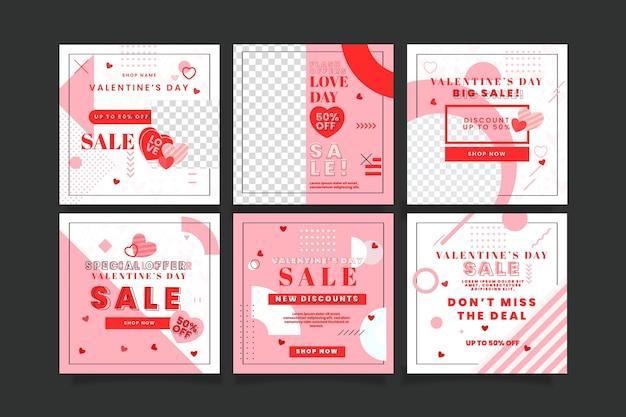 Joli ensemble de poteaux de vente pour la saint-valentin