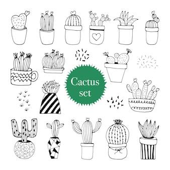 Joli ensemble de pots de cactus dessinés à la main. plantes d'intérieur d'illustration vectorielle doodle pour la conception de mariage, le logo et la carte de voeux. isolé sur fond blanc.