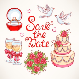 Joli ensemble pour un mariage avec un couple de colombes, un gâteau de mariage et un bouquet. illustrations dessinées à la main.