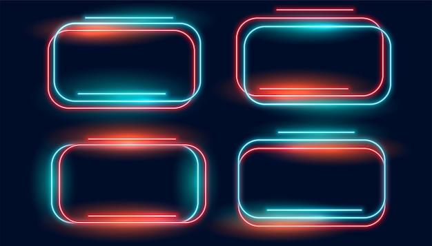 Joli ensemble de quatre cadres brillants au néon