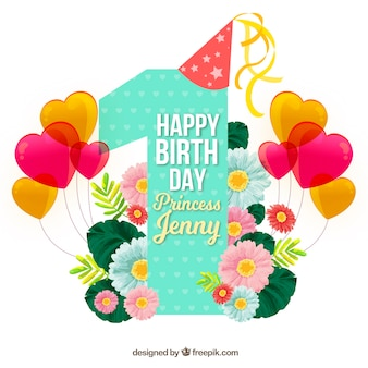 Joli fond d'anniversaire avec des ballons et des fleurs