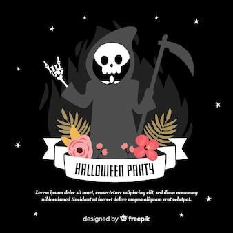 Joli fond de halloween avec le crâne