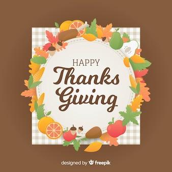 Joli fond de jour de thanksgiving avec un design plat