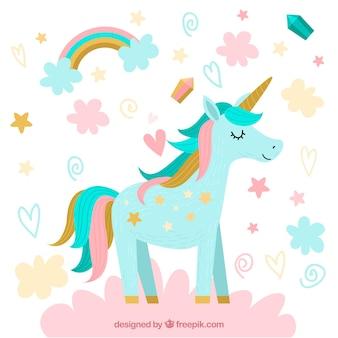 Joli fond de licorne avec des nuages et des étoiles