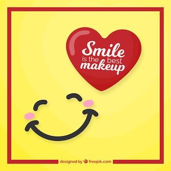 Joli fond avec le sourire et le coeur rouge