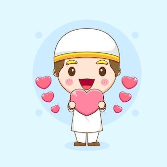 Joli garçon amoureux des coeurs