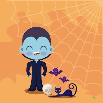 Joli garçon déguisé de vampire avec des icônes