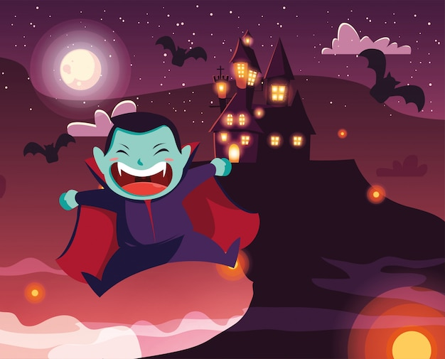 Joli garçon déguisé de vampire en scène d'halloween