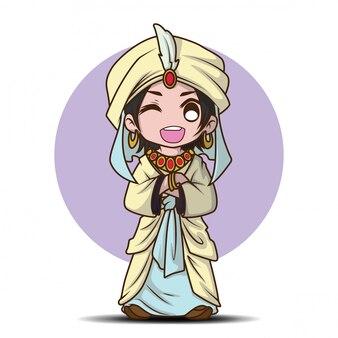 Joli garçon sur le dessin animé du prince arabe