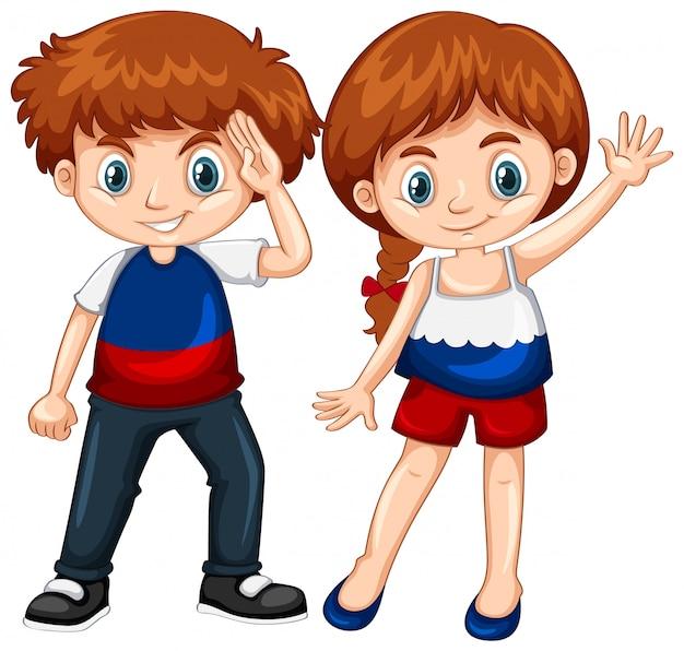 Joli garçon et fille agitant les mains