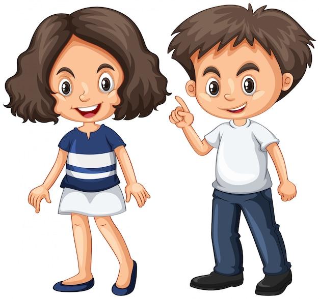 Joli garçon et fille au visage heureux