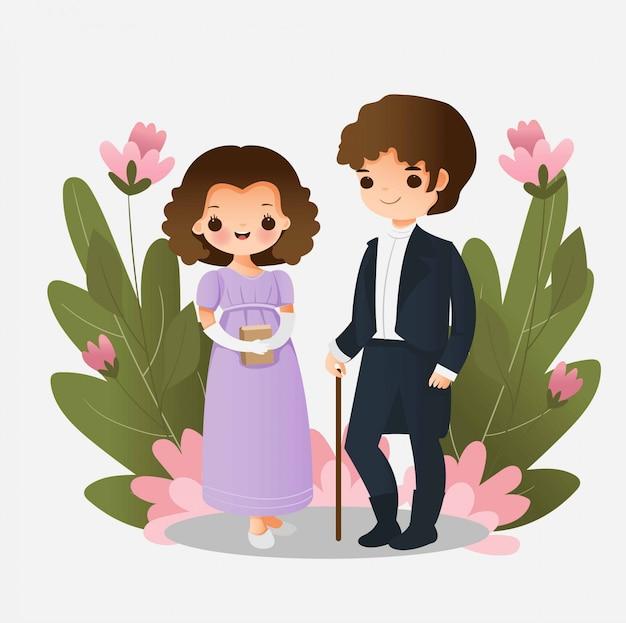 Joli garçon et fille portant le personnage de dessin animé en robe du xixe siècle