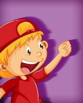Joli garçon portant une casquette rouge avec personnage de dessin animé de position étranglement isolé sur fond violet