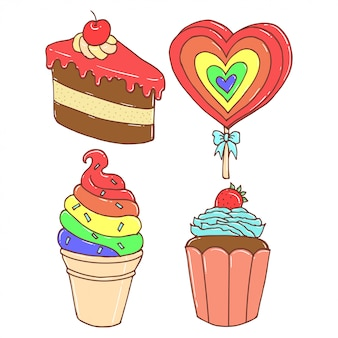 Joli gâteau coloré et des bonbons, illustration dessinée à la main
