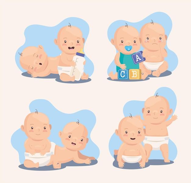 Joli groupe de bébés garçons