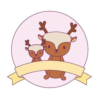 Joli groupe de rennes dans un cadre circulaire avec ruban