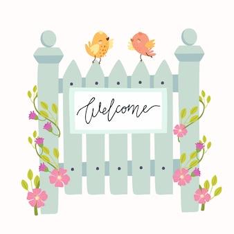 Joli guichet avec oiseaux et fleurs, bienvenue