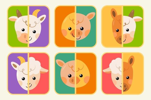 Joli jeu de match avec des animaux