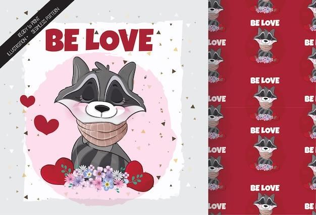 Joli joli raton laveur avec des fleurs et une illustration d'amour illustration de fond