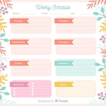 Joli modèle de calendrier hebdomadaire avec style floral