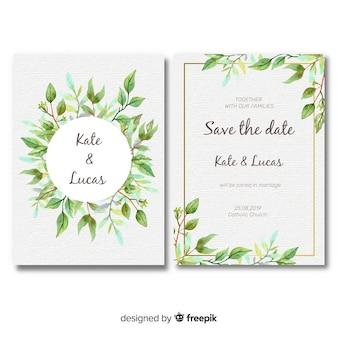 Joli modèle de carte de mariage avec des feuilles d'aquarelle