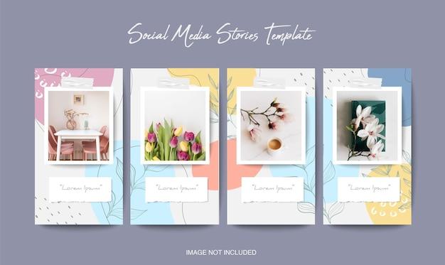 Joli modèle d'histoires instagram de médias sociaux avec une forme organique