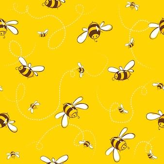 Joli modèle sans couture avec des abeilles volantes. illustration vectorielle eps10.