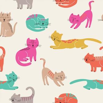 Joli modèle sans couture avec des chats colorés