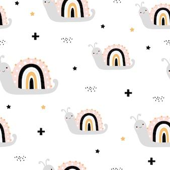 Joli modèle sans couture avec escargots arc-en-ciel
