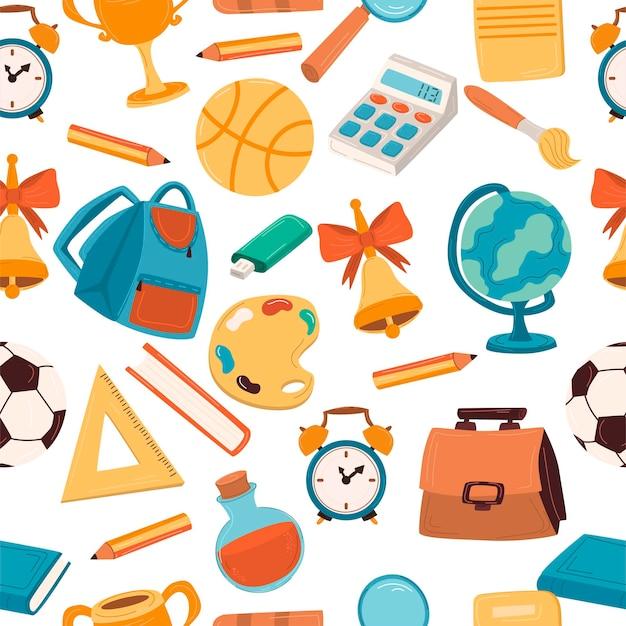 Joli modèle sans couture avec des fournitures scolaires. contexte retour à l'école. livres, cahier, sac à dos, fournitures de bureau. pour votre conception.