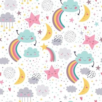 Joli modèle sans couture avec nuages de lune avec arc-en-ciel et étoiles.