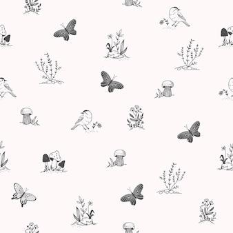 Joli modèle sans couture avec oiseau, papillon, herbes. éléments dessinés à la main