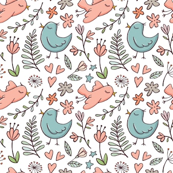 Joli modèle sans couture avec oiseaux et fleurs