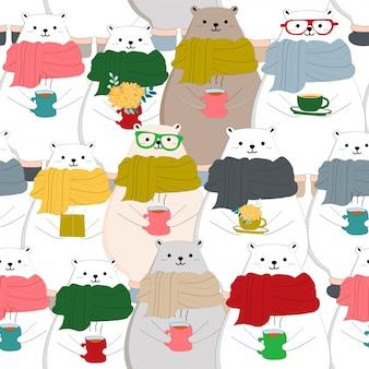 Joli modèle sans couture d'ours en peluche rose et bleu blanc joyeux noël joyeux