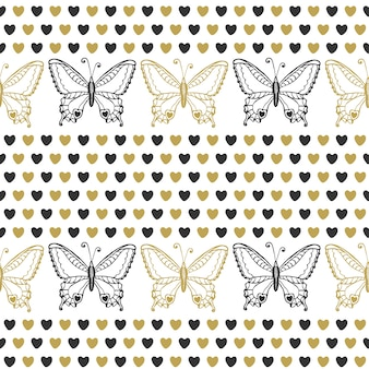 Joli modèle sans couture avec des papillons et des coeurs noir et or couleurs