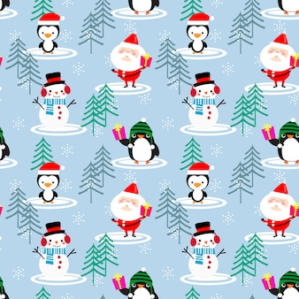 Joli modèle sans couture de père noël et pingouin.