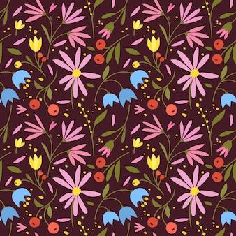 Joli modèle sans couture avec de petites fleurs colorées