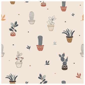 Joli modèle sans couture avec des plantes d'intérieur en pots illustration vectorielle dessinés à la main