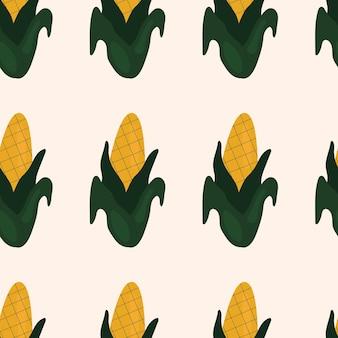 Joli modèle sans couture simple avec du maïs. illustration récolte, légumes, aliments végétaux sains, végétarien, produit agricole. conception de papier d'emballage
