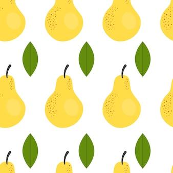 Joli modèle sans couture simple avec des poires jaunes. illustration récolte, fruits, aliments végétaux sains, végétarien, produit agricole. conception de papier d'emballage