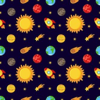 Joli modèle sans couture avec soleil et planètes. motif de l'espace.