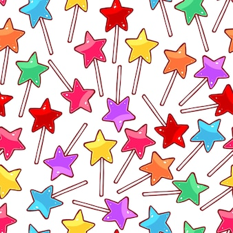 Joli modèle sans couture avec sucettes étoiles multicolores. illustration dessinée à la main