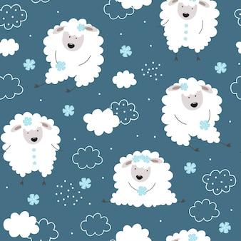 Joli motif avec des agneaux. moutons, fleurs, nuages